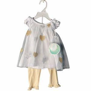 Nannette Baby White Blouse Gold & Silver Size 9-12